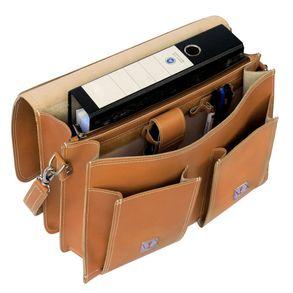 Hamosons,  600 - Klassische, cognac-braune Aktentasche bzw. Lehrertasche, Aufsicht geöffnet, Inhalt A4-Aktenordner - 05