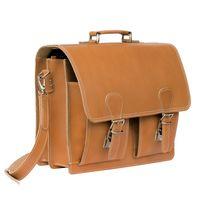 Hamosons, 600 - Klassische, cognac-braune Aktentasche bzw. Lehrertasche, Seitenansicht schräg - 03