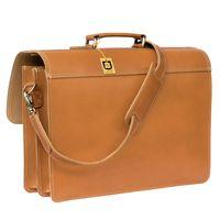 Hamosons, 600 - Klassische, cognac-braune Aktentasche bzw. Lehrertasche, Rückansicht - 04