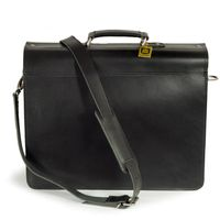 Hamosons – Classic briefcase / teacher bag size L made out of leather, black, model 600     -3