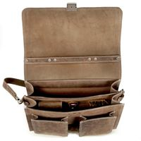 Hamosons – Classic briefcase / teacher bag size L made out of buffalo leather, matte brown, model 651