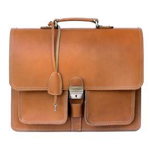 Hamosons 651 - Klassische, cognac-braune Aktentasche bzw. Lehrertasche, Frontalansicht - 01