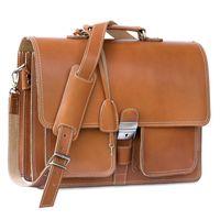 Hamosons 651 - Klassische, cognac-braune Aktentasche bzw. Lehrertasche, Seitenansicht - 02