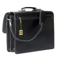 Hamosons 651 - Klassische, schwarze Aktentasche bzw. Lehrertasche, Rückansicht - 006