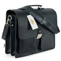 Hamosons – Classic briefcase / teacher bag size L made out of leather, black, model 651