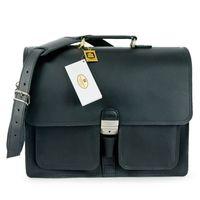 Hamosons 651 - Klassische, schwarze Aktentasche bzw. Lehrertasche, Frontalansicht - 008