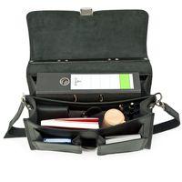 Hamosons 651 - Klassische, schwarze Aktentasche bzw. Lehrertasche, Aufsicht geöffnet mit Inhalt - 003