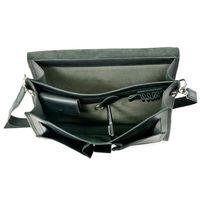 Hamosons 651 - Klassische, schwarze Aktentasche bzw. Lehrertasche, Aufsicht geöffnet ohne Inhalt - 005