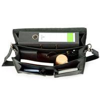 Hamosons 651 - Klassische, schwarze Aktentasche bzw. Lehrertasche, Aufsicht geöffnet mit Inhalt - 004