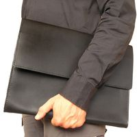 Hamosons – A4 document case / document holder made out of leather, black, model 665-6