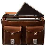 Hamosons – Large briefcase / teacher bag size XL made out of leather, brown, model 690