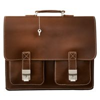 Hamosons – Large briefcase / teacher bag size XL made out of leather, brown, model 690-2