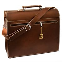 Hamosons – Large briefcase / teacher bag size XL made out of leather, brown, model 690-5