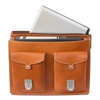 Hamosons – Large briefcase / teacher bag size XL made out of leather, cognac brown, model 690-3