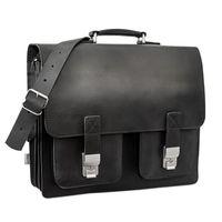 Hamosons, 690 - Große, schwarze Aktentasche bzw. Lehrertasche, Seitenansicht - 02