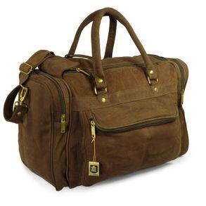 Hamosons, 696 - Mittelgroße, braune Reisetasche aus Leder, Modell 696, Seitenansicht - 01
