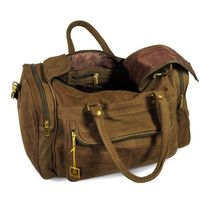 Hamosons – Medium sized travel bag / weekend bag size M made out of buffalo leather, brown, model 696-2