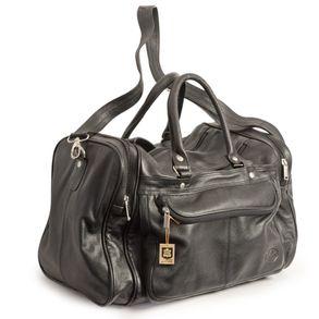 Hamosons, 696 - Mittelgroße, schwarze Reisetasche aus Leder, Modell 697, Seitenansicht - 01