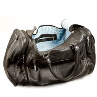 Hamosons – Medium sized travel bag / weekend bag size M made out of nappa leather, black, model 696-2