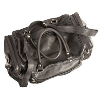 Hamosons – Medium sized travel bag / weekend bag size M made out of nappa leather, black, model 696-4