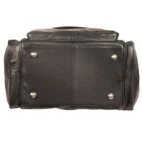 Hamosons – Medium sized travel bag / weekend bag size M made out of nappa leather, black, model 696-5