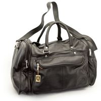 Hamosons – Medium sized travel bag / weekend bag size M made out of nappa leather, black, model 696-6