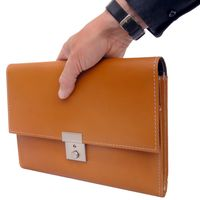 Jahn-Tasche – A5 document case / document holder made out of leather, cognac brown, model 1021