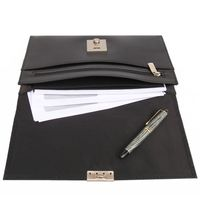 Jahn-Tasche – A5 document case / document holder, made out of leather, black, model 1021-4