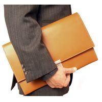 Jahn-Tasche – Exclusive A4 document case / document holder made out of leather, cognac brown, model 1022
