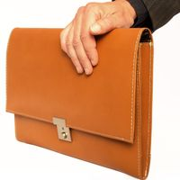 Jahn-Tasche – A4 document case / document holder made out of leather, cognac brown, model 1022-2