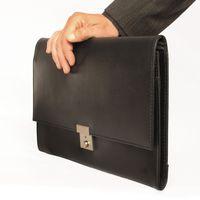 Jahn-Tasche, 1022 - Schwarze A4 Aktenmappe bzw. Dokumentenmappe, Seitenansicht gehalten - 02