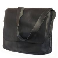 Jahn-Tasche – Elegant laptop shoulder bag size M / notebook bag up to 15 inches, made out of leather, black, model 448