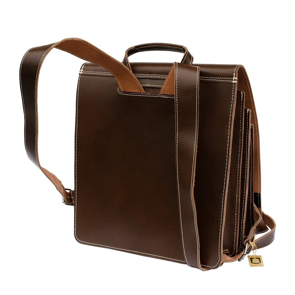 Jahn Tasche – Sehr Großer Lederrucksack Lehrer Rucksack Größe XL aus Leder, Braun, Modell 670