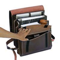 Jahn-Tasche, 670 - Großer, brauner Lederrucksack bzw. Lehrerrucksack, Aufsicht geöffnet, Inhalt A4-Aktenordner, Laptop, etc. - 05