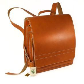 Jahn-Tasche, 670 - Großer, cognac-brauner Lederrucksack bzw. Lehrerrucksack, Seitenansicht - 01