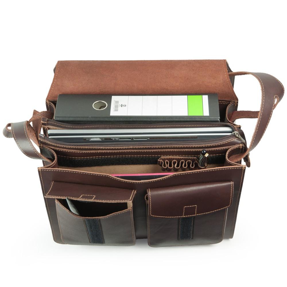Jahn Tasche – Große Aktentasche Lehrertasche Größe XL aus Leder, Braun, Modell 675
