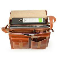 Jahn-Tasche, 675 - Große, cognac-braune Aktentasche bzw. Lehrertasche, Aufsicht geöffnet, Inhalt A4-Aktenordner und Laptop - 03
