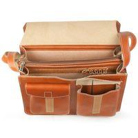 Jahn-Tasche, 676 - Große, cognac-braune Aktentasche bzw. Lehrertasche, Aufsicht geöffnet - 02
