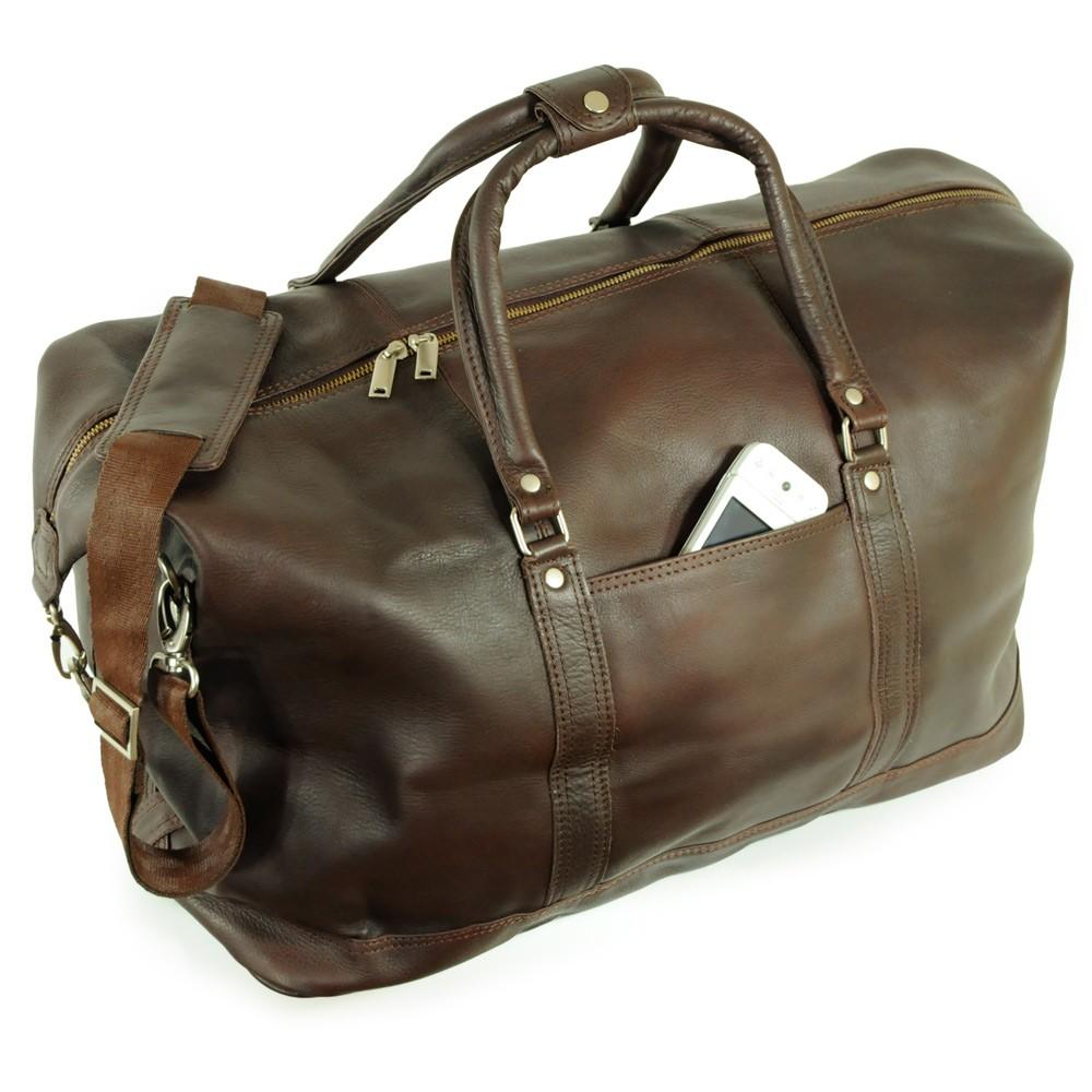Grand sac de voyage / sac de week-end taille L en cuir nappa, pour hommes et femmes, marron cognac, Jahn-Tasche 697
