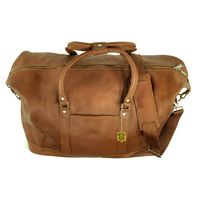 Jahn-Tasche – Large travel bag / weekend bag size L made out of nappa leather, cognac brown, model 697-3