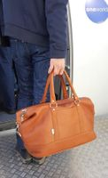 Jahn-Tasche – Large travel bag / weekend bag size L made out of nappa leather, cognac brown, model 697-7