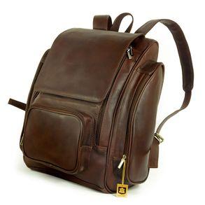 Jahn Tasche, 709 – Großer Lederrucksack / Laptop Rucksack bis 15,6 Zoll, Braun, Modell 709, Seitenansicht - 01