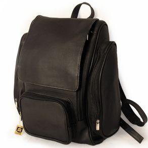 Jahn-Tasche 709 - Großer, schwarzer Lederrucksack bzw. Laptop Rucksack, Frontansicht - 02