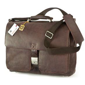 Jahn-Tasche, 750 - Elegante, cognac-braune Aktentasche bzw. Laptoptasche, Frontansicht - 01