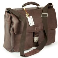Jahn-Tasche – Elegant briefcase size L / laptop bag up to 15.6 inches, made out of Nappa leather, brown, model 750-2