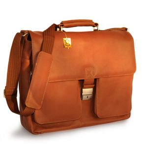 Jahn-Tasche – Elegant laptop shoulder bag size L / notebook bag up to 15.6 inches, made out of nappa leather, cognac brown, model 750