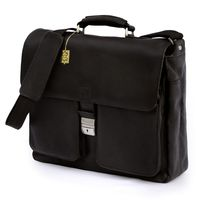 Jahn-Tasche – Elegant briefcase size L / laptop bag up to 15.6 inches, made out of Nappa leather, black, model 750
