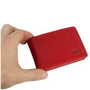 Branco, 12022 - Kleine Geldbörse bzw. Mini Portemonnaie aus Leder in Rot, Aufsicht, von Hand gehalten - 07