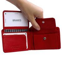Branco, 12022 - Kleine Geldbörse bzw. Mini Portemonnaie aus Leder in Rot, Frontansicht mit aufgeklappten Münzfach - 03