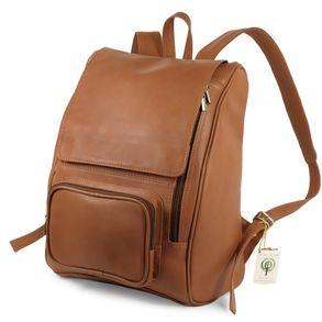 Jahn-Tasche 711 - Großer, cognac-brauner Lederrucksack bzw. Laptop Rucksack, Seitenansicht - 01